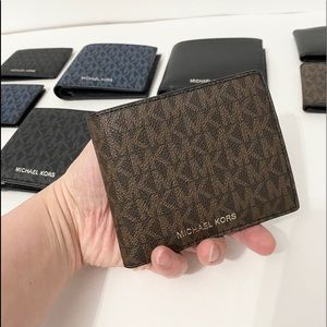 💯🆕MK Men wallet/PVC leather/brownblack color